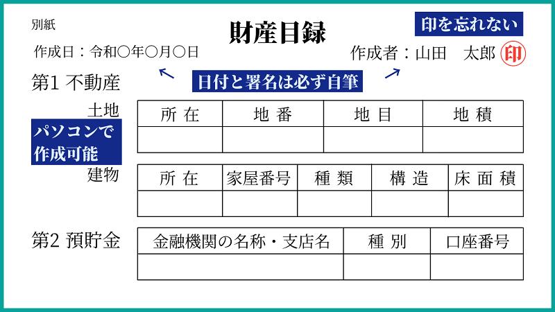 自筆証書遺言をパソコンで作る方法|有効にするための財産目録ひな形付き