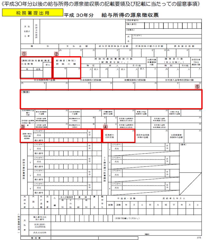 平成30年分給与所得の源泉徴収票の記載の仕方・配偶者控除及び配偶者特別控除の見直しに対応